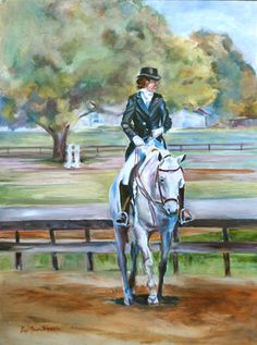Dressage, Horse with person riding  - Equestrian art - original oil painting by Carol DeMumbrum. $195.00, via Etsy.