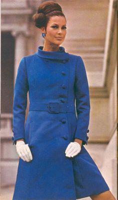 mod fashion blue coat wool winter 60s model magazine vintage style belt hair