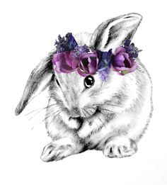 Floppy ear bunny with flower crown - bunny in black and white, slower crown in watercolour maybe?
