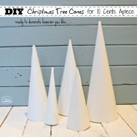Make Your Own DIY Christmas Tree Craft Cones for 10 cents each tutorial at The Happy Housie #Christmas Tree #Crafts #Thrifty