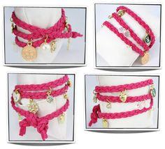 Double wrap bedel armband roze A0067