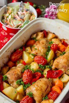 roast chicken thighs with vegetables / Pieczone podudzia kurczaka z warzywami
