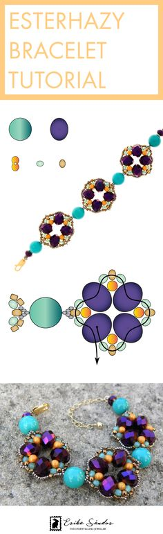 Beading pattern / instructions / schema / tutorial for beaded bracelet. With fire polished donut beads, Farfalle beads, Czech beads, Miyuki Japanese seed beads. Design by Erika Sandor The Storytelling Jeweller. Beadsmith Inspiration Squad. Purple, orange, turquoise armband, bracelet. Made in Amsterdam.
