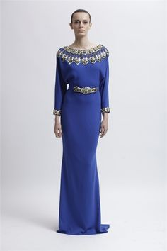 Purple long gown with elaborate white and gold embellished neckline. Badgley Mischka 2013- Vogue.it