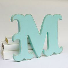 Carnival Style Wood M Letter Distressed Wall Decor by EdiesLab, $20.00