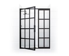 Gridscape Series Factory Windowpane Style Hinge Swinging Shower Door with Clear Glass (White Tile / Door Open) by Coastal Shower Doors Bad Inspiration, Bathroom Inspiration, The Sims, Coastal Shower Doors, Bathroom Renos, Bathroom Ideas, 1920s Bathroom, Bathroom Updates, Bathroom Showers