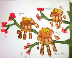 Kids handprints made into owls. Thumb prints can make leaves. Great autumnal craft.