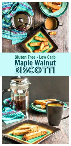 Gluten Free Maple Walnut Biscotti - low carb, dairy free, and only 2.2g net carbs! #ad #SilkandSimplyPureCreamers