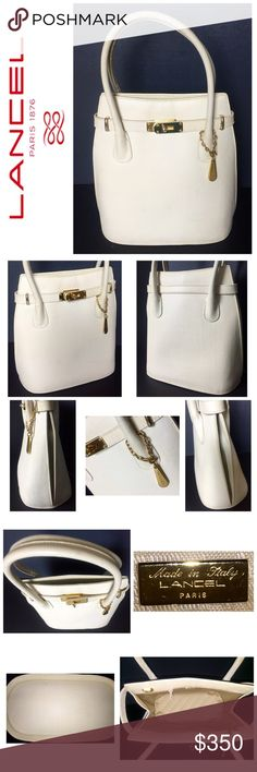 """Lancel Paris Designer Leather Handbag Lancel Paris Designer Leather Handbag, Rare Vintage Collection Leather Handbag featuring a Luxurious Pebble stone embossed Leather in Classic Creme with Gold Hardware,  Made in Italy, Dust Bag Included, Approximate size is 9 1/2"""" x 9 1/2"""" x 5"""" with a 4 1/2"""" Handle drop, an Amazingly Beautiful Addition to Every Woman's Closet!  Used in Good Condition! Lancel Bags Satchels"""