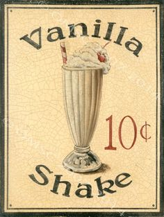 Vanilla Shake Metal Sign, Retro Diner Decor, Kitchen Decor, Ice Cream #OMSC #Modern