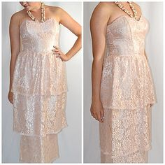 Vintage 1980s Strapless Peach Lace Flounce Ankle Length Formal Gunne Sax Sz S by ChrisMartinDesigns on Etsy