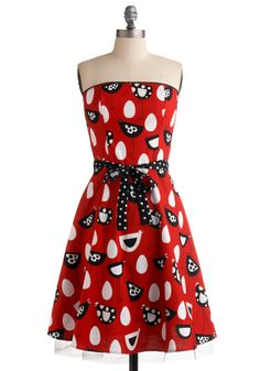 Perfect gameday dress to cheer on those Gamechickens!   A Hen-chant for Eggs-ellence Dress - Red, Black, White, Polka Dots, Novelty Print, Bows, Trim, Party, Vintage Inspired, 50s, A-line, Strapless, Long, Rockabilly