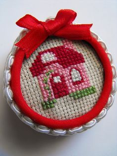Milk Bottle Top Mini Embroidery Hoop