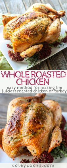 Whole Roasted Chicken with Herbs This easy method for roasting a whole chicken with herbs is a foolproof method for super juicy chicken or turkey Whole Baked Chicken, Perfect Roast Chicken, Cooking Whole Chicken, Herb Roasted Chicken, Roast Chicken Recipes, Stuffed Whole Chicken, Turkey Recipes, Dinner Recipes, Roasted Turkey