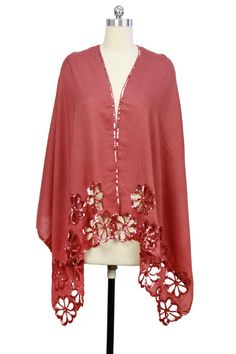 Brick Red Floral Sequin Wool Scarf by Saachi on @HauteLook