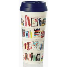 Kate Spade Like A Book Thermal Mug (38 BRL) ❤ liked on Polyvore featuring home, kitchen & dining, drinkware, food, fillers, accessories, cup, food and drink, kate spade cup and thermal mug