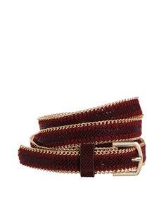 New Look Chain Edge Skinny Belt