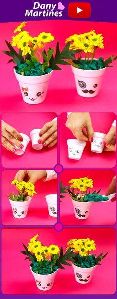 Faça você mesmo vasinhos com flores artificiais pra decorar o ambiente, kawaii, DIY, Do It Yourself