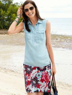 Talbots - Sleeveless Denim Shirt    