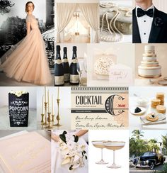 Old Hollywood Glamor Inspiration Board via Snippet & Ink (Use Rose Quartz, Opal, Antique Gold, and Onyx in C & P colors)