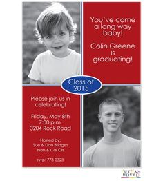 Digital Graduation Announcement: Your photo will be digitally printed directly on the card with a matte photo finish.