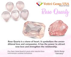 Rose Quartz is a birthstone of January. Rose Quartz has the ability to cleanse its owner mind. Vettri Gems USA is a colored stone and natural stone dealer and manufacture from Alexandrite-Zircon. As a member of ICA (International Colored Gemstones Association), we are proud of our high quality product and reliable service. Your satisfaction matters most. #gemstonesmeanings #naturalgems #naturalstones #vettrigemsusa #wholesalegems Diy Crystals, Healing Crystals, Crystals And Gemstones, Stones And Crystals, Natural Gemstones, Quartz Stone, Rose Quartz, Diy Jewellery Designs, Paparazzi Consultant