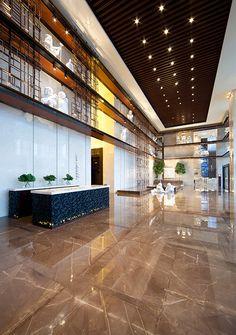 Grand Hyatt Shenyang Arrival Lobby, interior designed by HBA/Hirsch Bedner Associates