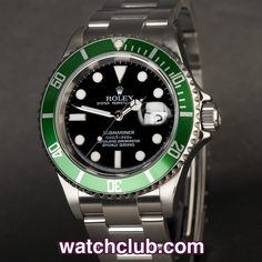 Rolex Submariner Date 50th Anniversary - 'Rolex Warranty' REF: 16610LV   Year Jan 2006  - These stainless steel green bezel 50th Anniversary Rolex Submariner Date models are sure fire investment material...In superb condition, this model ref.16610LV sports the Mark III dial and is powered by Rolex's trusty chronometer rated cal.3135 automatic movement. Waterproof to 300m and fitted to a sturdy Oyster bracelet - for sale at Watch Club, 28 Old Bond Street, Mayfair, London
