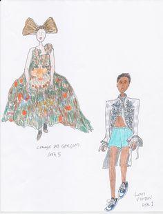 Comme des Garçon, Louis Vuitton Spring 2018   Sketched by Grace Coddington  Photo: Courtesy of Grace Coddington