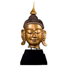 """Monumental Carved Buddha head - HUGE  53"""" Tall 