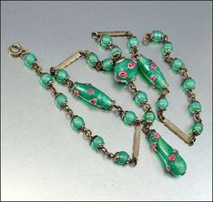 Czech Glass Necklace Art Deco Jewelry Green Bead Pink by boylerpf, $110.00