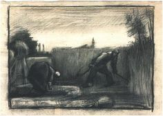 Vincent van Gogh Wheat Field with Mower and a Stooping Peasant Woman Drawing