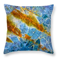 Throw pillow: Broken glass abstract art blue and orange. All throw pillows are available in multiple sizes. (c) Matthias Hauser hauserfoto.com