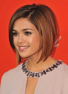 A longer bob with beautiful highlights on a brunette base.