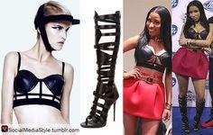 Buy Nicki Minaj's Cage Bra and Knee High Gladiator Sandals, here!