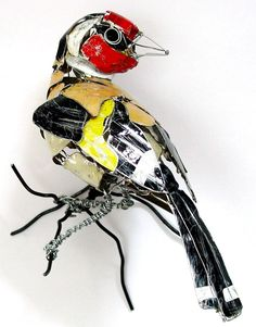 Goldfinch: Birds Made from Recycled Metal Scraps by Barbara Franc