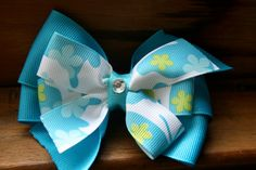 Flutterby Blues Hair Bow by MariasBowTique on Etsy, $3.50