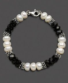 Check the way to make a special photo charms, and add it into your Pandora bracelets. Sterling Silver Bracelet, Cultured Freshwater Pearl and Onyx by becky Pearl Jewelry, Wire Jewelry, Beaded Jewelry, Jewelery, Jewelry Bracelets, Pandora Bracelets, Ankle Bracelets, Women's Bracelets, Silver Jewellery
