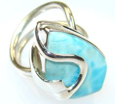 $61.25 Morning Blue Larimar Sterling Silver Ring s. 9 at www.SilverRushStyle.com #ring #handmade #jewelry #silver #larimar