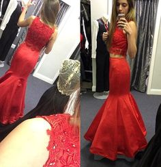 Red Lace Floor-length Mermaid Satin Prom Dresses 2017