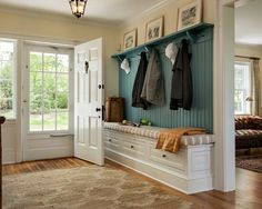 MUD ROOM – Cottage farmhouse entry new york, Crisp Architects Sweet Home, Entry Hall, Entry Bench, Hall Bench, Front Entry, Front Doors, Front Hallway, Bench Seat, Pew Bench