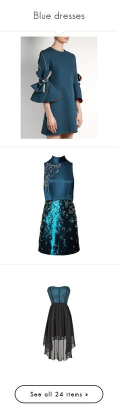 """""""Blue dresses"""" by irene-beatrice ❤ liked on Polyvore featuring dresses, sleeved dresses, blue sleeve dress, fit and flare dress, long-sleeve fit and flare dresses, bow dress, vestidos, short, halter top and blue cocktail dresses"""