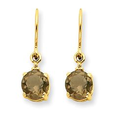 14k Gold Smoky Quartz & Diamond Dangle Earrings XE1738SQ/A