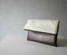 Linen and Leather Foldover Clutch Purse Gold Metallic Bronze on Etsy, $38.00
