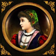 Antique French Limoges Enamel on Copper Miniature Portrait Plaque Mounted In A Gilt Bronze Frame  c.19th Century