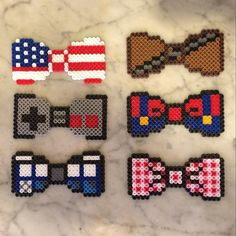 Bows (American flag, Chewbacca, Nintendo controller, Mario, Tardis and gingham) perler beads by bigbharmon