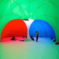 #Pneuhaus created small inflatable bubbles that place visitors in the ever-changing environment of the RGB color spectrum  @pneuhaus by jessicavwalsh