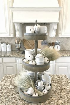 One of my favorite @homegoods finds is this 3 tiered tray!  I love styling it for each season and love the storage space it adds to our island!