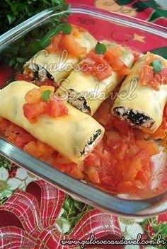 Quer uma receita fácil e rápida para o #jantar? É este delicioso e prático Canelone de Espinafre e Ricota! #Receita aqui: http://www.gulosoesaudavel.com.br/2011/11/17/canelone-de-espinafre-e-ricota/