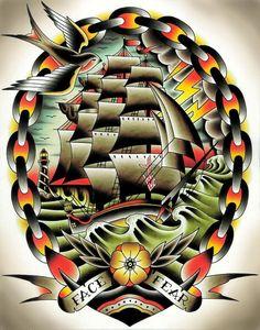 Fear II by Tyler Bredeweg Classic Tattoo Ship Art Design Giclee Print